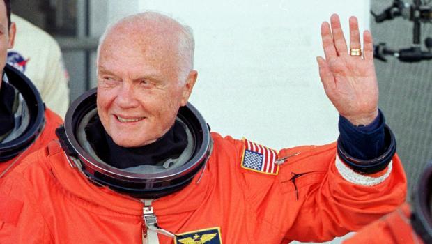 US astronaut and senator John Glenn waves as he le